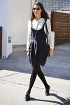 black Lurdes Bergada dress - white Zara shirt - black Zara flats