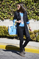blue H&M sweater - black Zara coat - sky blue Banane Taipei bag