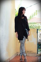 silver Zara pants - black xSML jacket - dark green LAMB heels