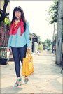 Blue-denim-shirt-mango-shirt-red-scarf-mustard-michael-kors-bag