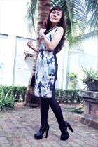 charcoal gray Ciel dress - black shoesone heels - black Topshop stockings - char