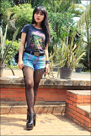 black juneandjulia boots - purple denim shorts Abocs shorts - black stockings