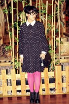 black juneandjulia boots - black odd&dot dress - bubble gum Topshop tights