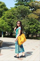 blue chic simple dress - black Dorothy Perkins shoes - yellow Michael Kors bag