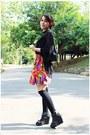 Hot-pink-diy-skirt-black-shoes-black-sox-gallery-socks-black-blouse