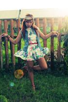 floral dress Cassie dress - floral scarf YSL scarf - denim vest Olympus vest