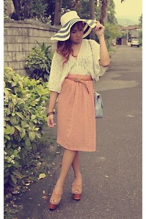 skirt - lace kimono top vest - x-strap wedges wedges