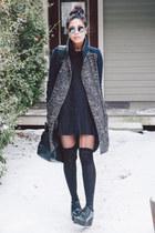 mixed fabric asos coat - black shirt dress asos dress