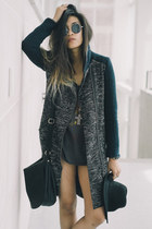 navy high-collar asos coat - black fedora asos hat - gray tunic free people top