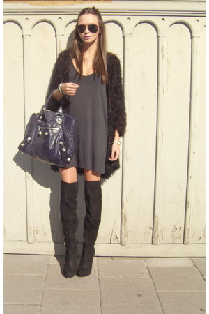 black weekday sweater - black Topshop boots - black Topman dress