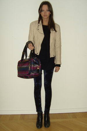 Zara jacket - vintage sweater - Monki tights - Sonia Rykiel purse - Don&amp;Donna sh