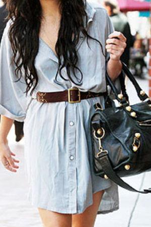 blue idk dress - brown idk belt - idk bag