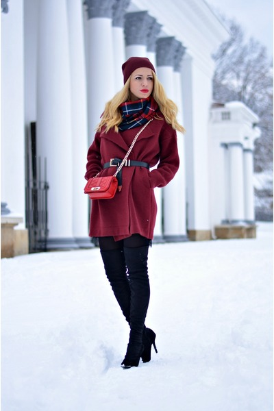 brick red Sheinside coat - black Jessica Buurman boots - black OASAP dress