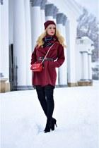 brick red Sheinside coat - black Jessica Buurman boots - black OASAP dress