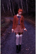 pink H&M sweater - black lace up boots DinSko boots - red Target dress