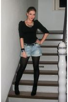 black H&M boots - blue H&M shorts - silver H&M necklace