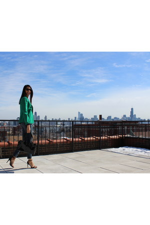 emerald The Limited blazer - distressed All Saints jeans - Zara sandals