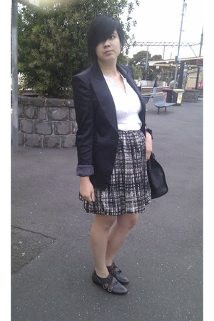 brogues asos shoes - Cue blazer - Ebay bag - Ojay t-shirt - Jigsaw skirt