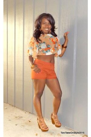 orange thrifted Forever 21 top - burnt orange H&M shorts