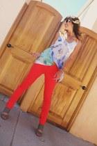white oversized donna karen sunglasses - grey Madden Girl wedges - skinny leg Fo