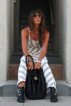 black ankle Dolce Vita boots - heather gray maxi Peppe Peluso dress - black hobo
