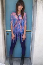 sheer zandra rhodes blouse - purple volcom pants - lace up combat Dolce Vita clo
