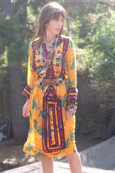gold afghan thrifted vintage dress - beaded Anthropologie belt - feathered thrif