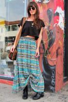 dark gray crop American Apparel top - turquoise blue maxi BB Dakota skirt