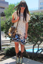 eggshell floral shift Lux dress - aquamarine python cowboy Dan Post boots