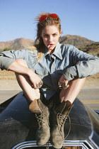 charcoal gray lace up vintage boots - sky blue denim vintage shirt