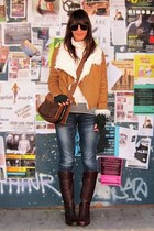 tan shearling Piko jacket - dark brown Anne Klein boots - riding Levi jeans