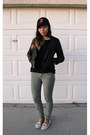 Ivory-flats-black-h-m-sweater-olive-green-forever-21-pants