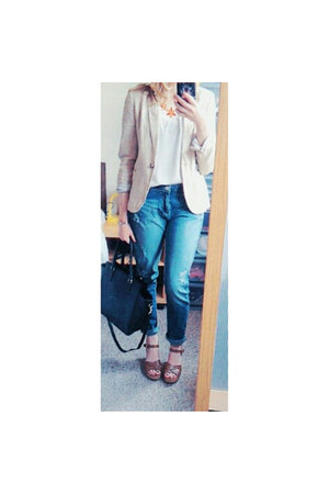 Primark jeans - Zara blazer - black H&M bag - select top