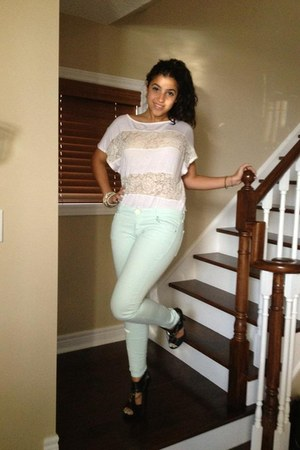 pastel Zara jeans - striped Forever 21 shirt - black Aldo heels
