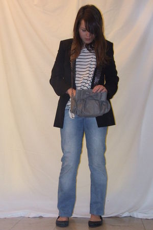 black Zara blazer - white H&M top - blue H&M jeans - black Zara shoes - silver Z