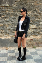black Miss Sixty jacket - black Steve Madden boots - hm shorts