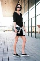 Bershka jacket - black H&M dress - Monki bag - bronx sneakers