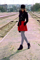 white sextra tights - black Topshop boots - black Miss Sixty jacket