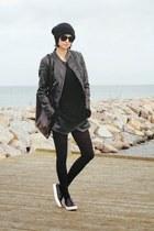 black leather Zara skirt - GINA TRICOT jacket - playbag bag