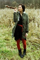 tawny hm tights - black hm dress - army green hm jacket