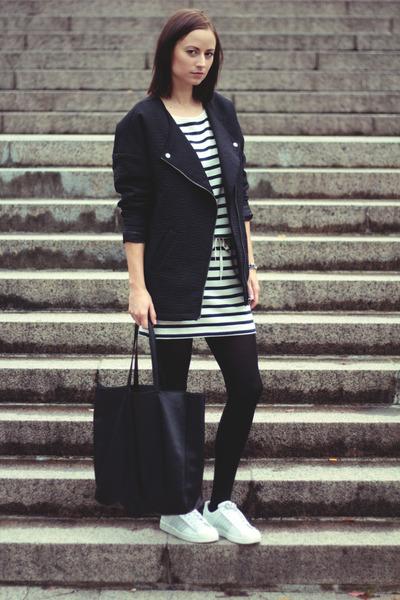 black Monki jacket - Adidas sneakers