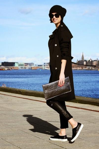 black Topshop coat - Monki bag - leather Zara pants - bronx sneakers