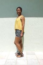 black nautical Love Culture shorts - mustard Love Culture shirt