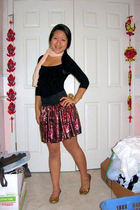 black H&M shirt - red Candy Rain skirt - gold shoes - beige scarf