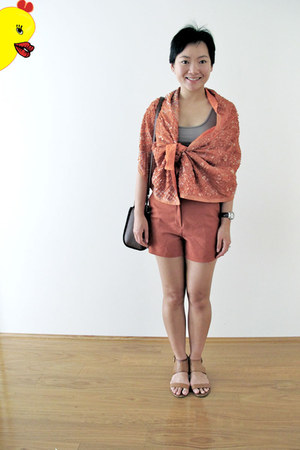 carrot orange bin house scarf - carrot orange Princess Highway shorts