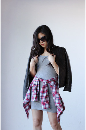 gray bodycon Forever 21 dress - black leather Express jacket - red plaid shirt