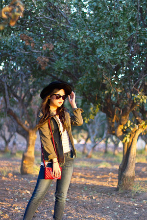 olive green military Express jacket - navy Levis jeans - black Forever 21 hat
