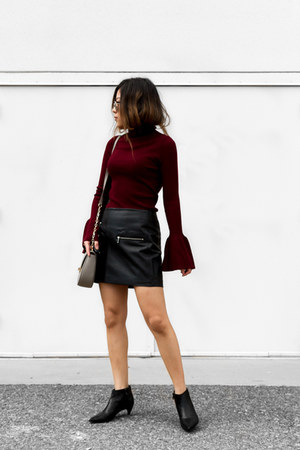 crimson mock neck sweater