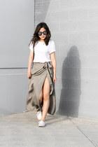 olive green wrap skirt