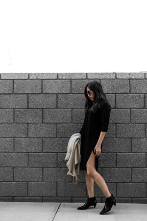 beige knit cardigan - black tunic dress